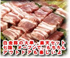 白金豚の大串、楽天限定セット七輪、オーブンで、もちろんアウトドアも楽しいよ!