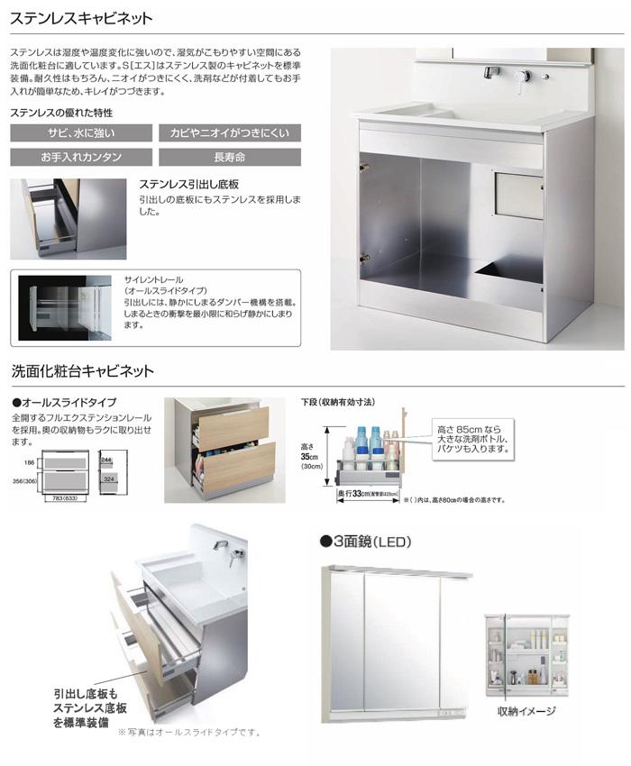 クリナップ 洗面化粧台 S(エス) シリーズ 間口750mm BSRH75FSSYWHI-M-753SRNE