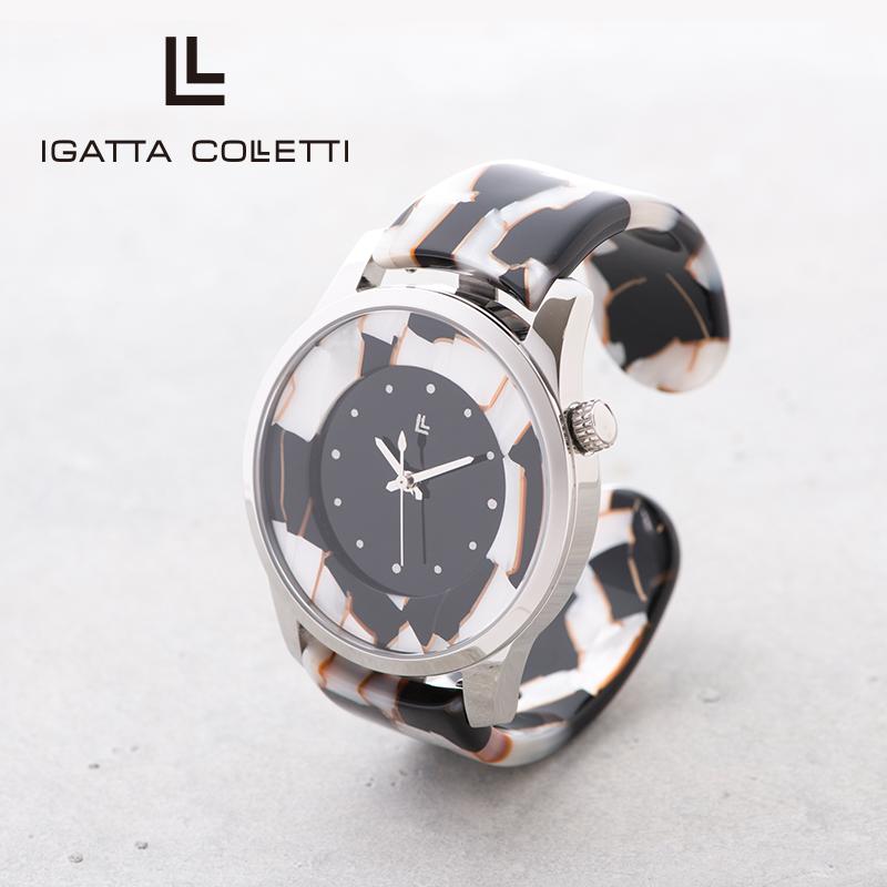IGATTA COLLETTI バングルウォッチ メンズ 日本製クォーツ [ホワイトモザイク]