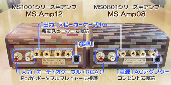 波動スピーカー対応オリジナルアンプ 背面端子