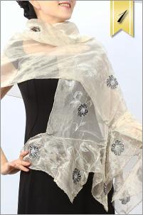 スパンコール 刺繍 シルクウール パーティ ストール
