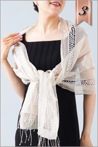 シルクオーガンジーストール ライトベージュ ビーズ刺繍