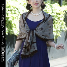 シルクシフォンストール 黒/グレー花刺繍