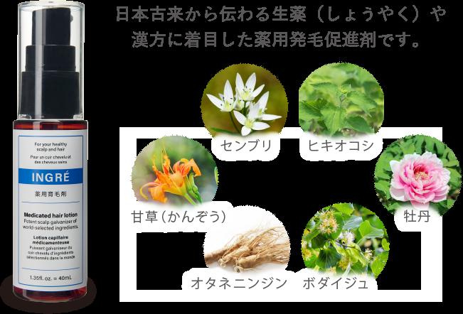 日本古来から伝わる生薬(しょうやく)や漢方に着目した薬用発毛促進剤です。