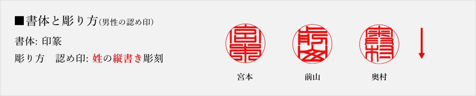 認め印の彫り方(印篆)