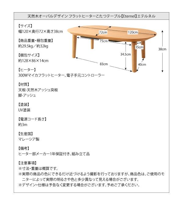 こたつ 楕円 オーバル こたつテーブル フラットヒーター