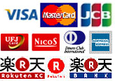 VISA, JCB, American Express, MasterCard, Diners Club, Y!