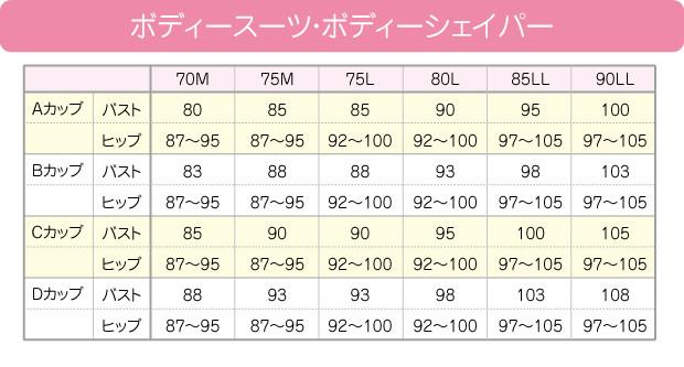 ボディスーツのサイズ表