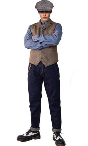 HAT :ヘリンボーン キャスケット TOPS:ヘリンボーン ジレ PANTS:14ozサルベージ ジーンズ