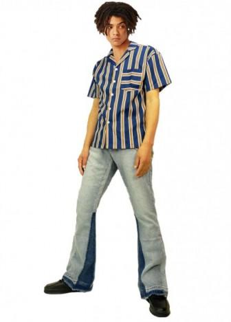 coat:インディゴデニムモッズ sweater:クラッシュセーター pants:Aprill77 MOON FLAG