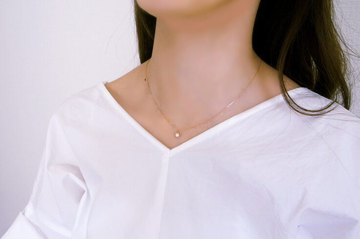 K18YG/WG/PG 天然ダイヤモンド スター ネックレス