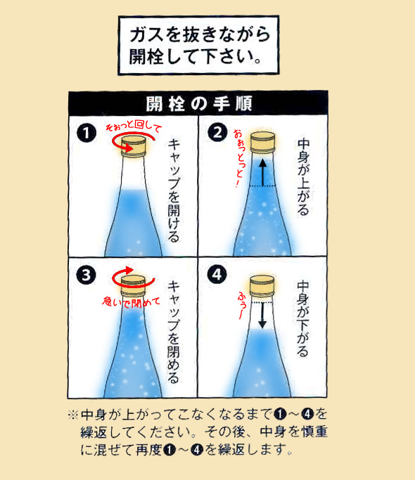 開栓注意! 『炭酸純米白川郷泡にごり酒』は特殊なお酒です。