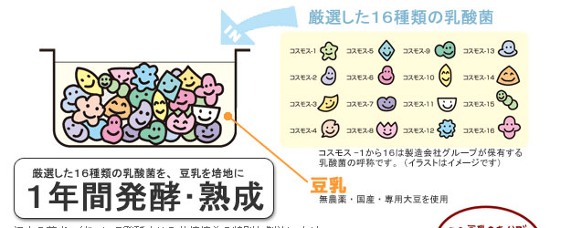 厳選した16種類の乳酸菌を1年間発酵・熟成