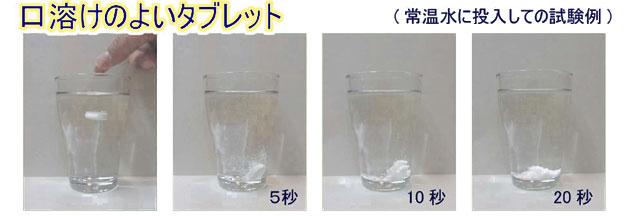 常温水に投入しての試験例