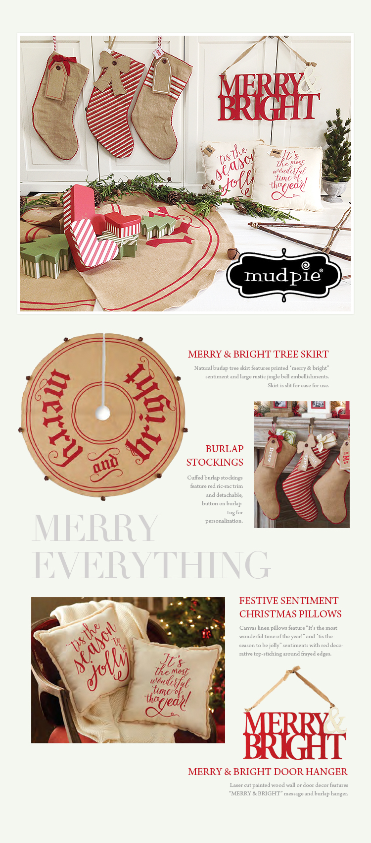 mudpie merry bright door hanger - Mud Pie Christmas Decor