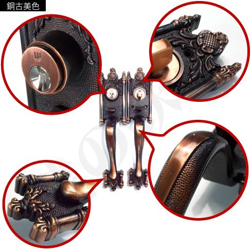 WEST サムラッチハンドル装飾錠 銅古美色