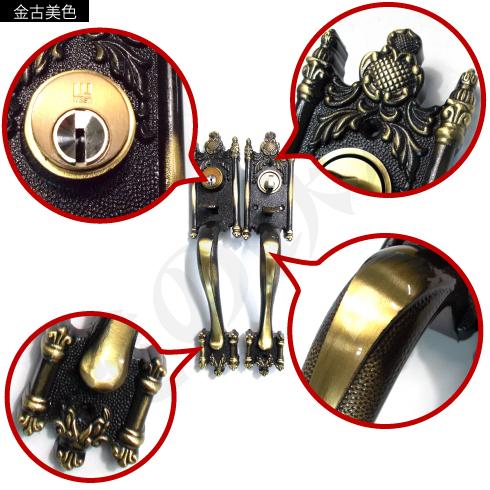 WEST サムラッチハンドル装飾錠 金古美色