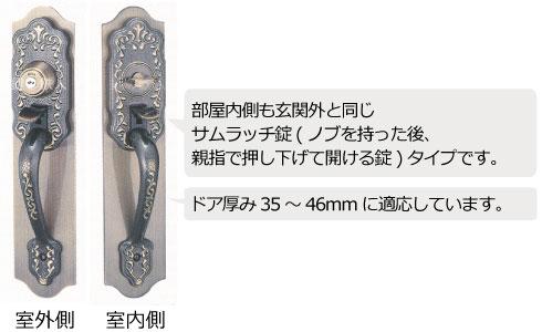 MIWA 玄関錠 THM 室内側説明