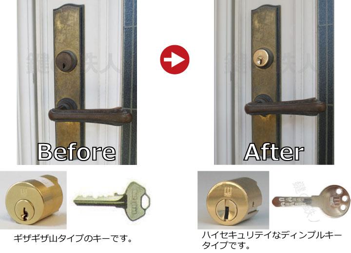 セキスイハウスの玄関ドアの鍵(カギ=シリンダー)の交換