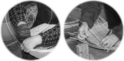 かごや熟練の職人がしっかりと編み上げていきます。