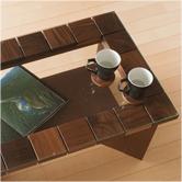 タイル風ガラステーブル