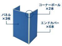 3枚コの字型連結パネル