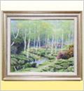 絵画(油絵)白樺林