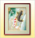 絵画(日本画)夫婦滝上り鯉