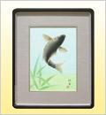 絵画(日本画)跳鯉