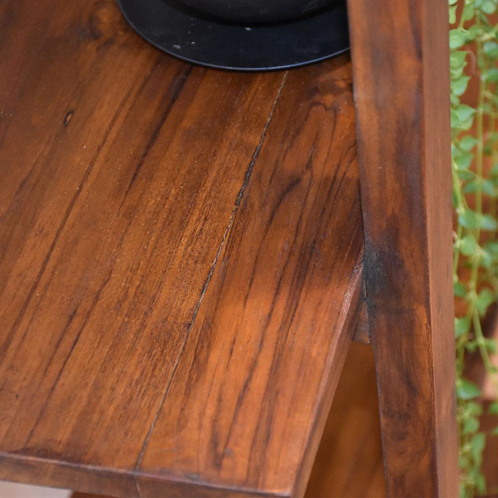 ラック 木製 おしゃれ 幅50 シェルフ ミニラック 棚 奥行40 北欧 ミニシェルフ 完成品 かわいい 木 木天板 天然木 無垢 チーク ナチュラル 収納 サイドボード アジアン家具 チーク材 家具 インテリア 家具 収納棚 収納家具 木の家具 アンティーク風 バリ 送料無料