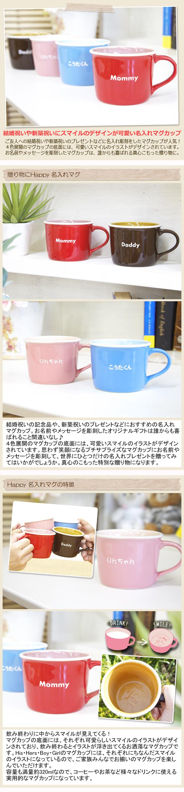 結婚祝いや新築祝いのプレゼントなどに名入れ彫刻をしたマグカップ