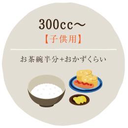 300cc~・・・お茶碗半分+おかずくらい