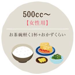 500cc~・・・お茶碗軽く1杯+おかずくらい