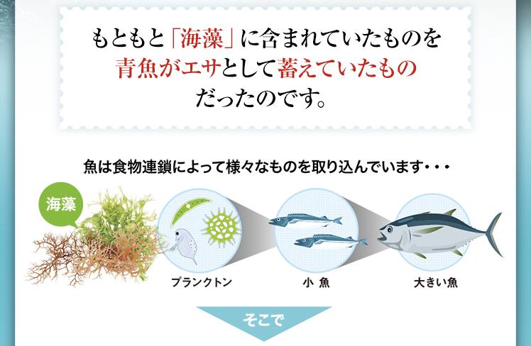 もともと「海藻」に含まれていたものを青魚がエサとして蓄えていたものだったのです。