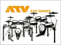 メッシュヘッド採用の電子ドラムATV EXSシリーズはコンパクトなEXS-3とオーソドックスサイズのEXS-5をラインナップ。