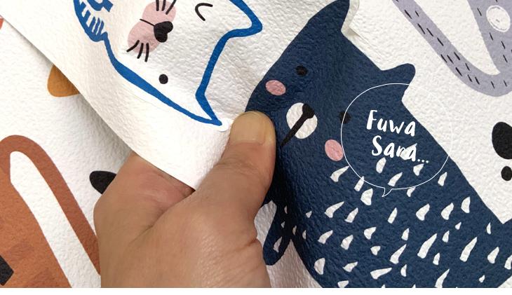 壁ペタっステッカー「のんびりネコちゃん」ふわサラ触感