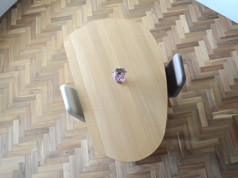 やさしい暮らし-SHUNO(シュノ)収納付き 変形ダイニングテーブル150 天板の形