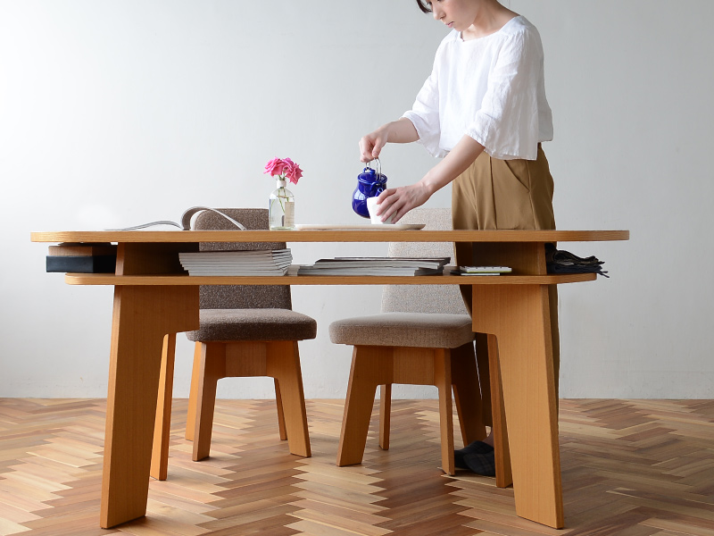 やさしい暮らし-SHUNO(シュノ)収納付き 変形ダイニングテーブル150 大容量の収納