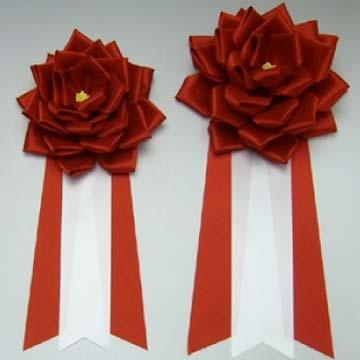 リボン徽章バラ赤