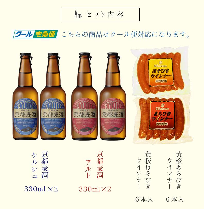 せっと内容 京都麦酒ケルシュ330ml×2京都麦酒アルト330×2黄桜ほそびきウインナー6本入り黄桜あらびきウインナー6本入り