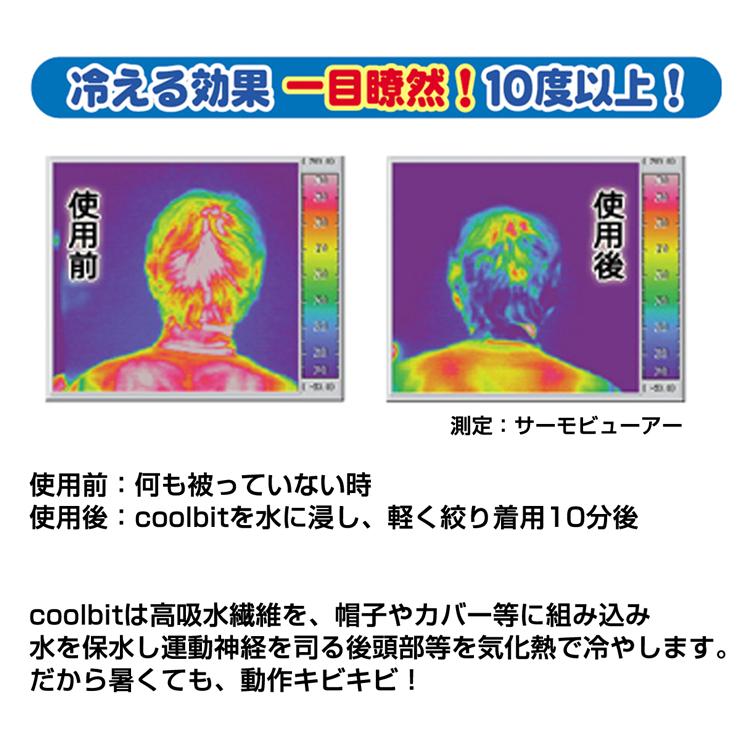 冷える効果一目瞭然!10度以上!,サーモビューア—で測定,使用前(何も被っていない)と使用後(coolbitを水に浸し、軽く絞り着用10分後)では一目瞭然!,colbitは高吸水繊維を、帽子やカバー等に組込み水を保水し運動神経を司る後頭部等を気化熱で冷やします。,だから暑くても、動作キビキビ!