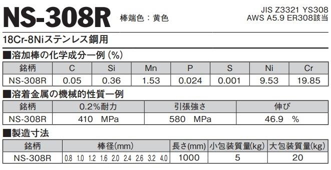 TIG溶接用溶加棒 NS-308R 1.6mm 1kg バラ売り(ニツコー熔材/NIKKO/日亜溶接棒)