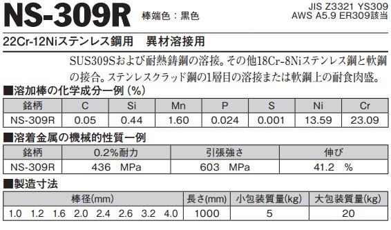 TIG溶接用溶加棒 NS-309R 1.6mm 1kg バラ売り(ニツコー熔材/NIKKO/日亜溶接棒)