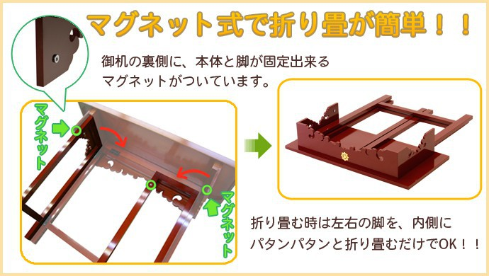 マグネット式で折り畳みが簡単!!