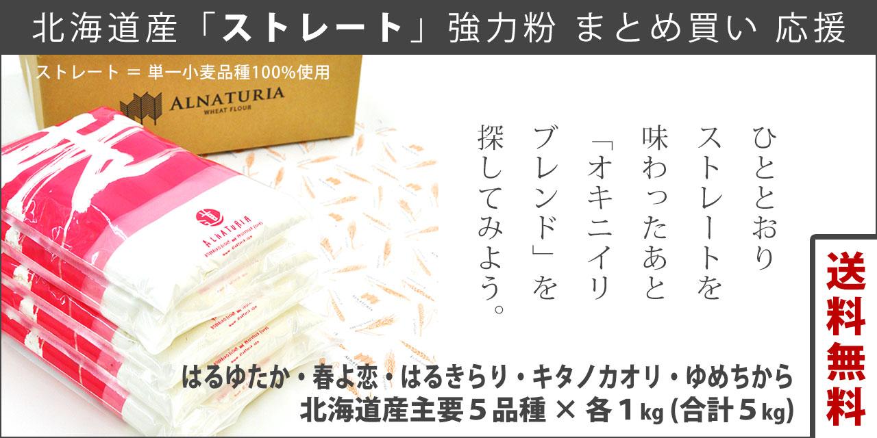 北海道産ストレート強力粉 1kg×5種セット
