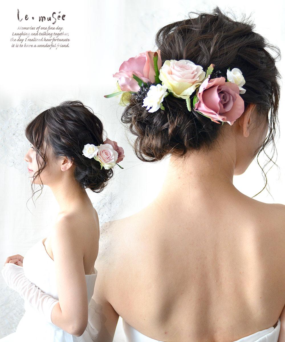 ヘッドドレス(髪飾り)【シルクフラワー】アンティーク