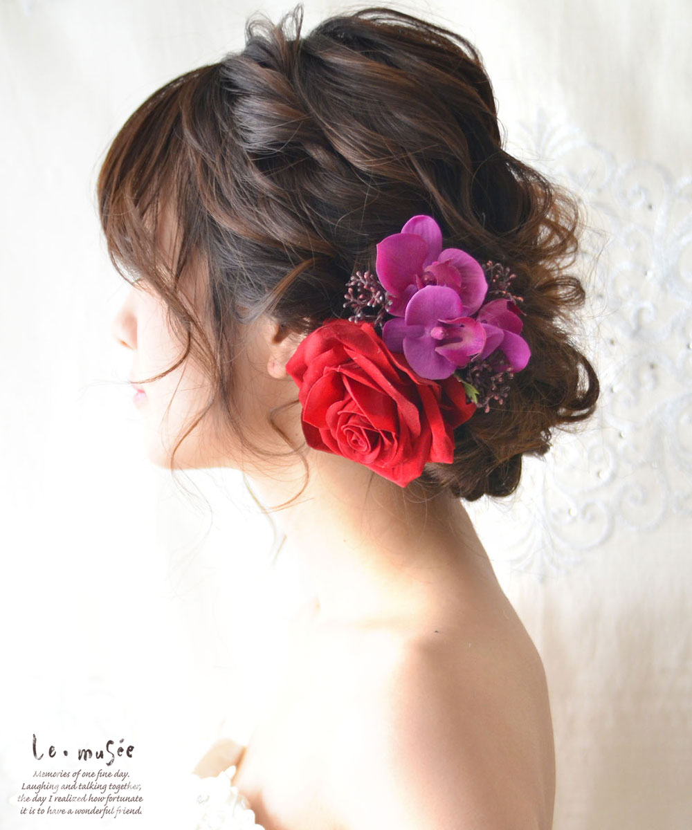 ヘッドドレス(髪飾り)【シルクフラワー】 ベルベッドローズと胡蝶蘭