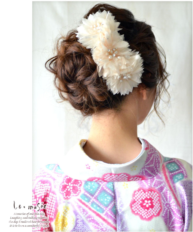 ヘッドドレス(髪飾り)【ボンネ】 ステラ サーモンピンク