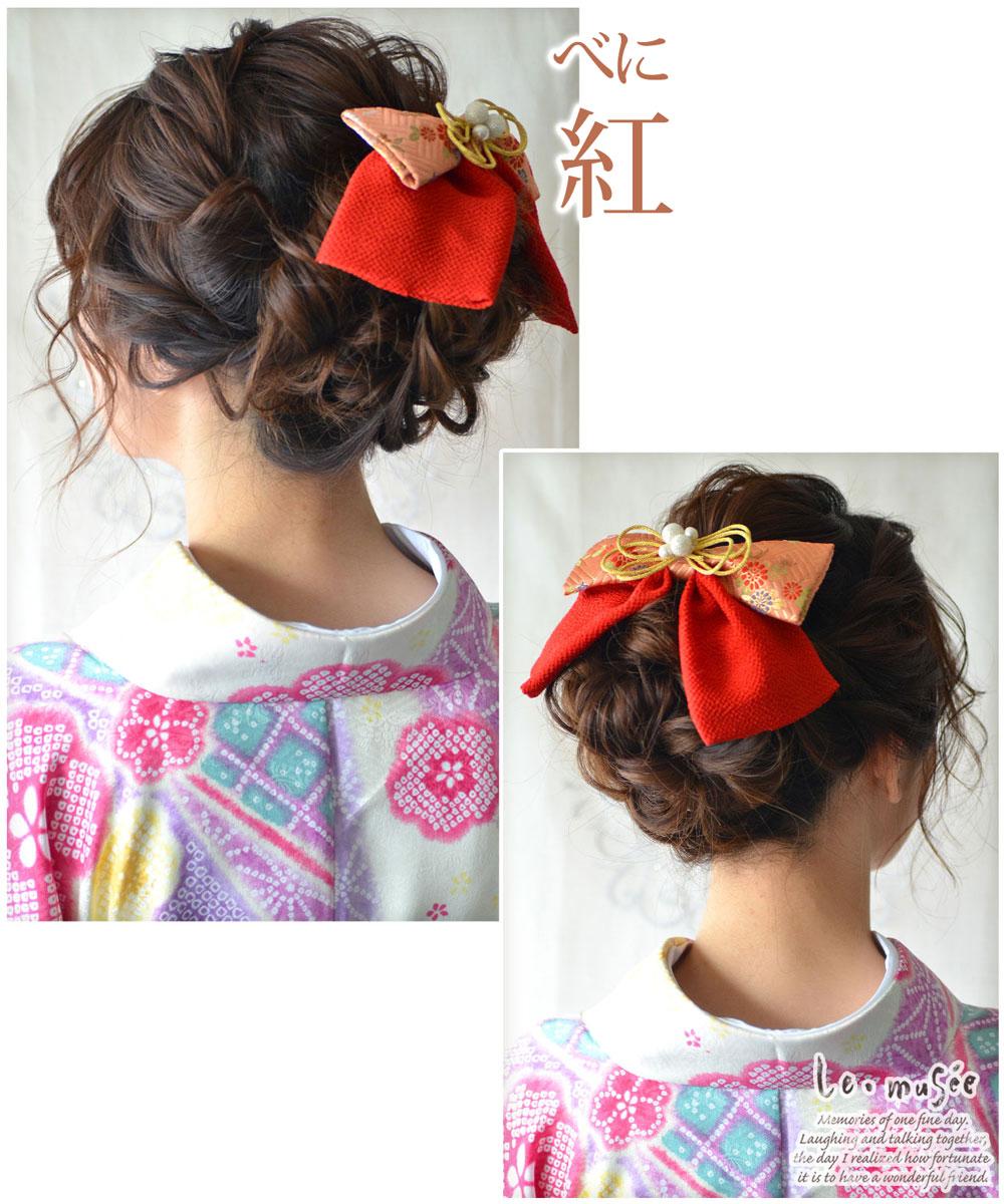 成人式 髪飾り 髪飾り 和風リボン 2トーン
