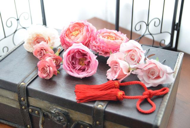 成人式・和装用髪飾り【シルクフラワー】コーディネートセット 撫子花(なでしこばな)